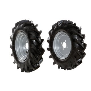 Pair of 4.00-8 DF tyred wheels (fixed track width)