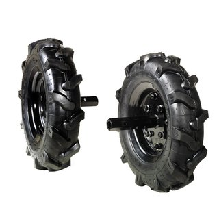 Pair of 3.50-6 tyred wheels