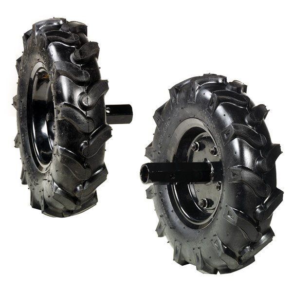 Pair of 3.50-8 tyred wheels